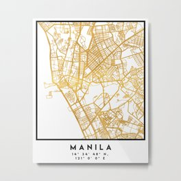 MANILA PHILIPPINES CITY STREET MAP ART Metal Print