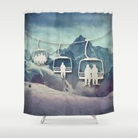 snowboarding Shower Curtains featuring Lift Me Up by Amanda Royale