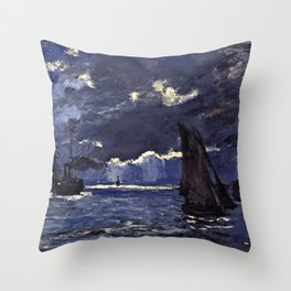 Claude Monet - A Seascape, Shipping By Moonlight Throw Pillow