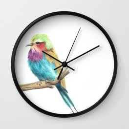 Colorful Coracias - lilac-breasted roller Wall Clock