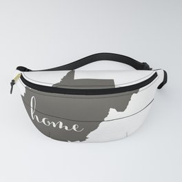 West Virginia is Home - Charcoal on White Wood Fanny Pack