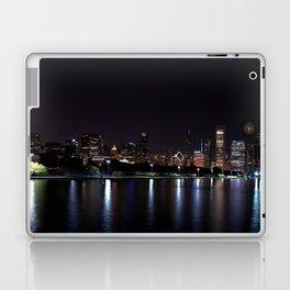 Chicago night skyline with fireworks, Usa. Laptop & iPad Skin