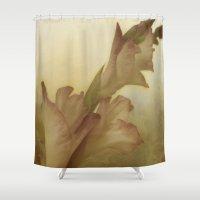 vintage floral Shower Curtains featuring Vintage Floral by Dorothy Pinder