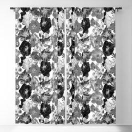 Geometric Fragmented Wild Rose Pattern - Black White Blackout Curtain