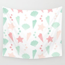 cute colorful summer pattern with seashells and starfishes Wall Tapestry