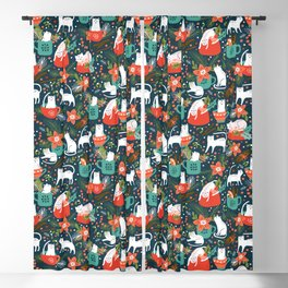 Purrfect Christmas Art Pattern Blackout Curtain
