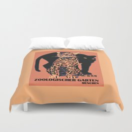 Retro vintage Munich Zoo big cats Duvet Cover