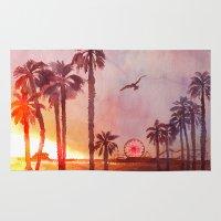 santa monica Area & Throw Rugs featuring Sunset in Santa Monica by Kate Tova