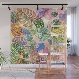 Tropical Monstera Pink Wall Mural