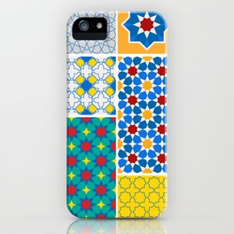 Moroccan pattern, Morocco. Patchwork mosaic with traditional folk geometric ornament. Tribal orienta iPhone Case