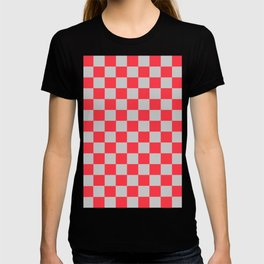 Checkered Pattern Light Red and Light Gray T-shirt