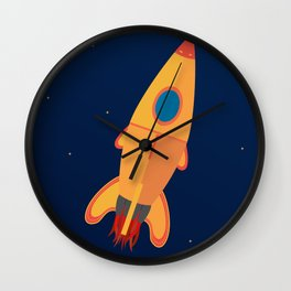 the yellow rocket Wall Clock