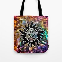 supernatural Tote Bags featuring Supernatural by Spooky Dooky