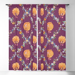 Pangolin with ants and daisies in mauve Blackout Curtain