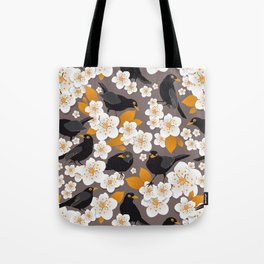 Waiting for the cherries II // Blackbirds brown background Tote Bag
