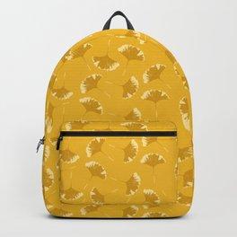 Ginkgo Mustard Yellow Leaves Botanical Pattern Backpack