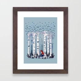The Birches (in Blue) Framed Art Print