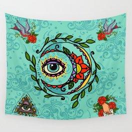 Sun God & Moon #3: Old school tattoo Wall Tapestry
