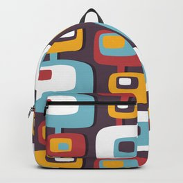 Mid century abstract geometric shapes hand drawn illustration pattern Backpack