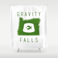 gravity falls Shower Curtains featuring Gravity Falls - Grunkle Stan's Fez (White) by pondlifeforme