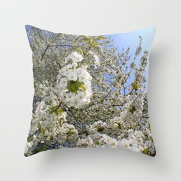 White Blossoms, Springtime Throw Pillow
