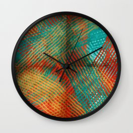 Red and Turquoise Weave Wall Clock