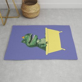 Playful T-Rex in Bathtub in Purple Rug