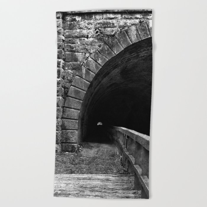Paw Paw Grunge Tunnel - Black & White Beach Towel