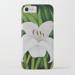 White Lily Watercolour iPhone Case