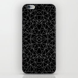 Abstract Collide Outline White on Black iPhone Skin