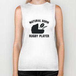 Natural Born Rugby Player Biker Tank