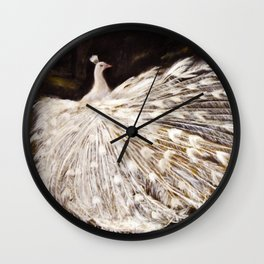 White Peacock Oil Painting Wall Clock