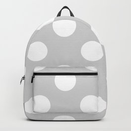 Large Polka Dots - White on Light Gray Backpack