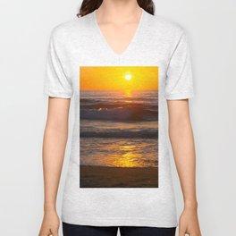 Sunset in the beach Unisex V-Neck