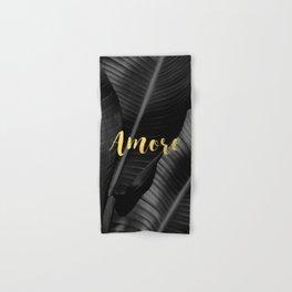 Love (amore) gold - bw banana leaf Hand & Bath Towel