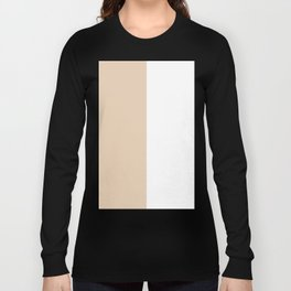 White and Pastel Brown Vertical Halves Long Sleeve T-shirt