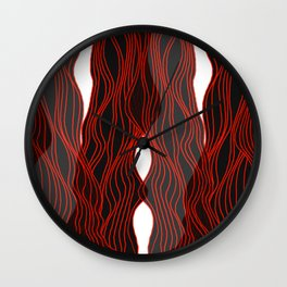Parallel Lines No.: 03. - Red Lines, Symmetrical Wall Clock