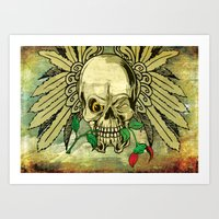 Skull with Wings and Dead Rose Art Print