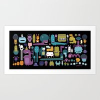 monsters Art Prints featuring MONSTERS by Piktorama