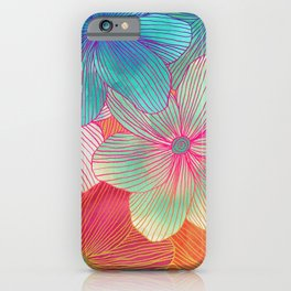 Between the Lines - tropical flowers in pink, orange, blue & mint iPhone Case