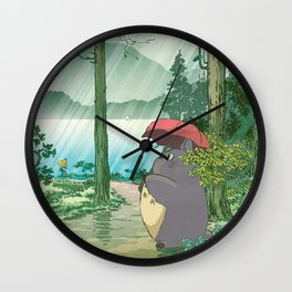 Anime and vintage japanese woodblock mashup Wall Clock