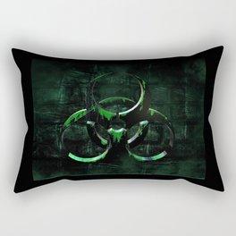 Green Grunge Biohazard Symbol Rectangular Pillow