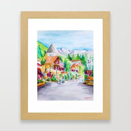 Vail Village Colorado Watercolor Framed Art Print
