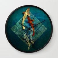 koi Wall Clocks featuring Koi by Elsa Herrera-Quinonez