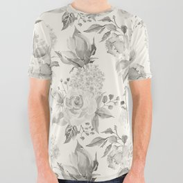 Roses in Grey and Beige All Over Graphic Tee