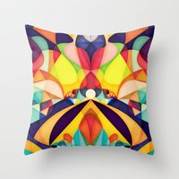 geometry Throw Pillows featuring Poetry Geometry by Anai Greog