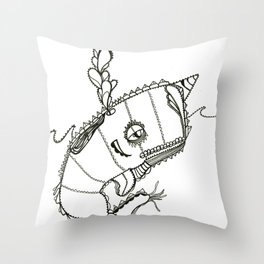 Funky Narwahl Throw Pillow