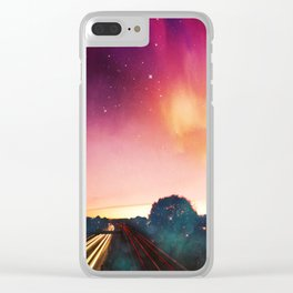 light speed - highway at sunrise Clear iPhone Case