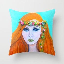 Redhead Poison Ivy Goddess Throw Pillow