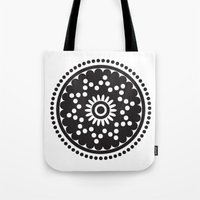 scandinavian Tote Bags featuring Scandinavian Flower by HeyAle!